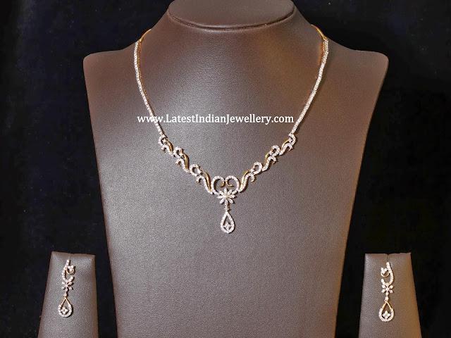 Stylish Simple Diamond Necklace Sets Latest Indian