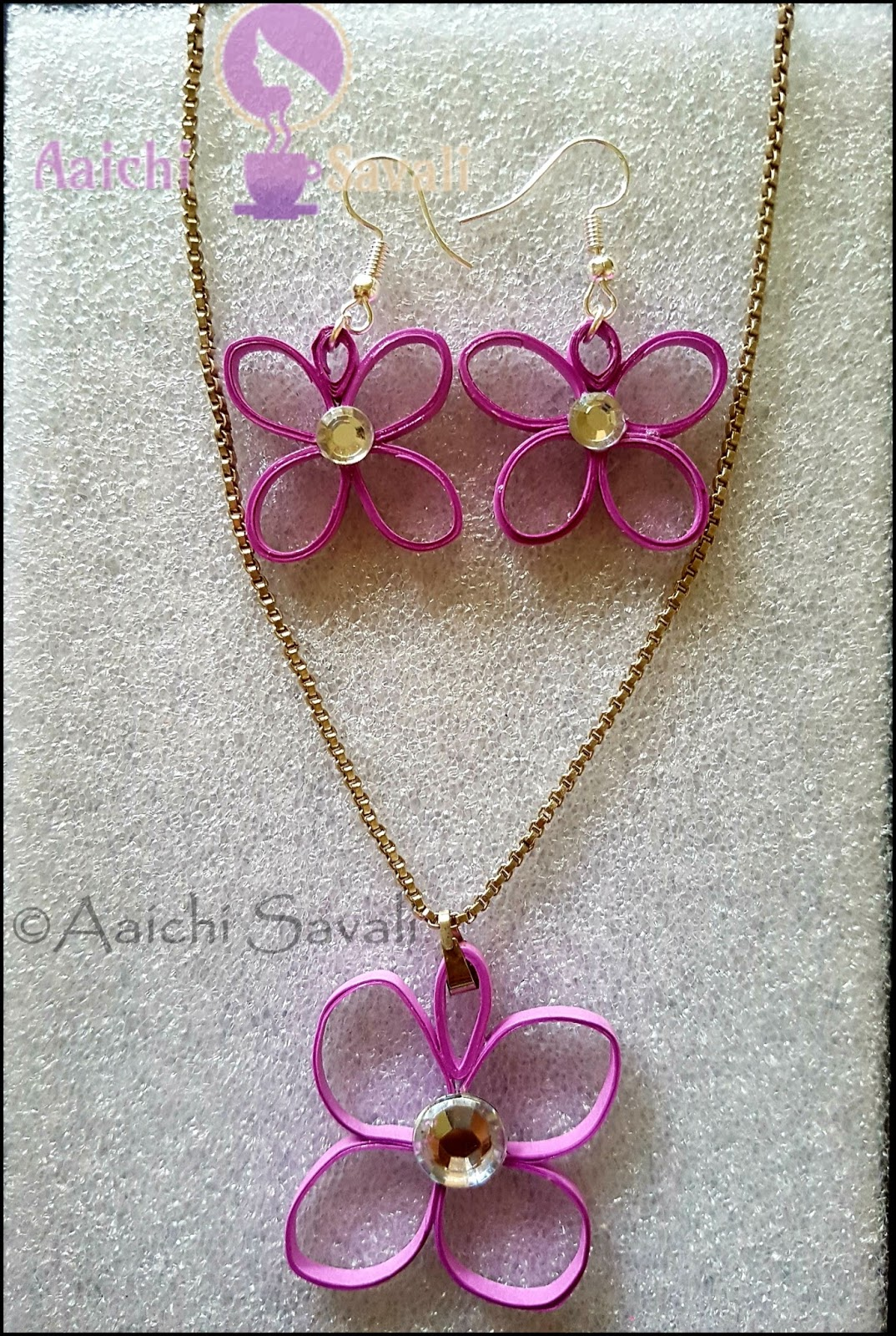 Quilling necklace and earring set aaichi savali this tutorial will show you how to make a purple quilling paper flower earrings and necklace or pendant the basic materials used are paper of various mightylinksfo