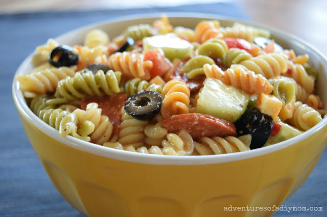 Italian pasta salad with pepperoni