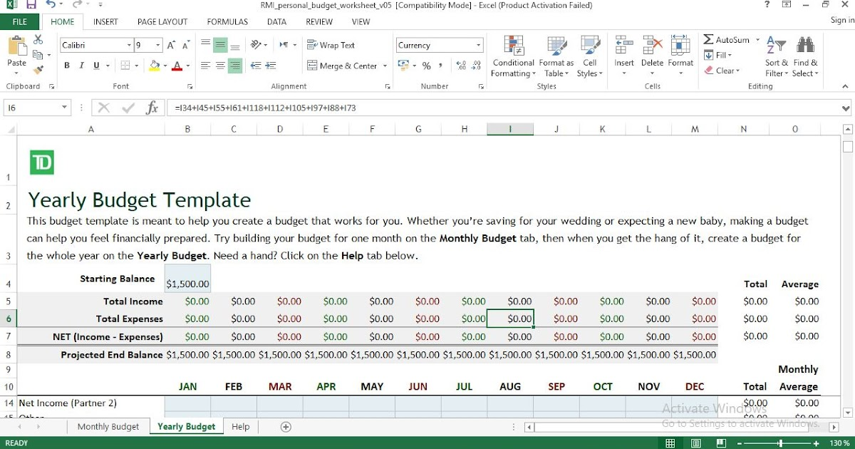 Monthly Yearly Budget Excel Template Engineering Management