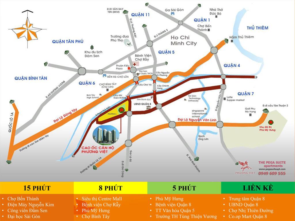 Bản đồ vị trí Pega Suite Apartments