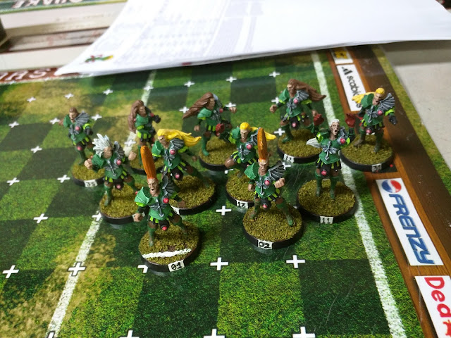 Wood Elves on the Blood Bowl Field