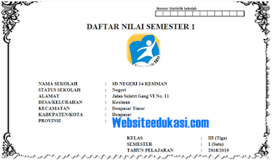 Format Daftar Nilai Kelas 3 SD/MI Kurikulum 2013 Revisi 2018