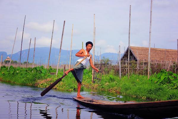 Forma de remar de los pescadores del lago Inle