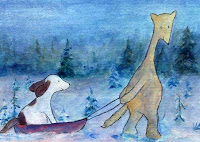 Postcard illustration of Hulmu Hukka and Haukku Spaniel coming to home when there is a blue moment in a winter evening. Haukku is sitting in a sled.
