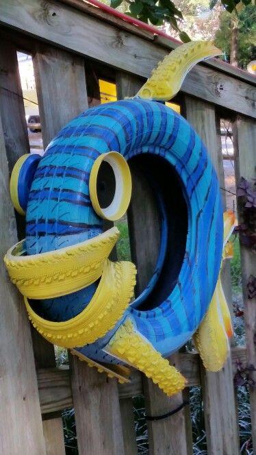 ozdoby z opon ogrodowe plac zabaw  ryba