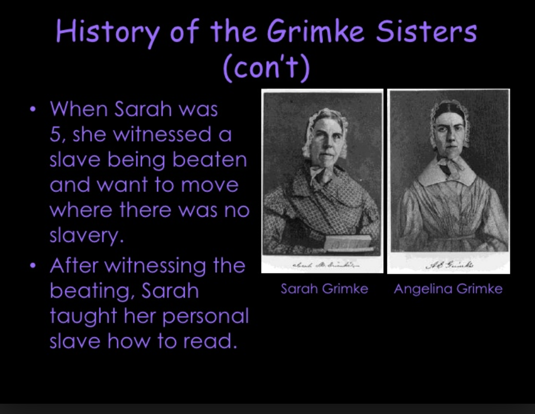 essay on angelina grimke Throughout the series of documents in kathryn kisk sklar's women's rights emerges within the antislavery movement 1830- 1870, the grimke sisters argued for the.