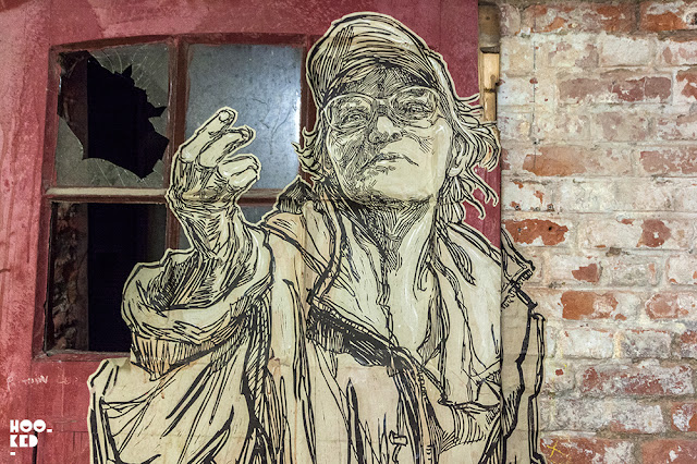 Artist Swoon's Wheatpaste work at Mima Museum