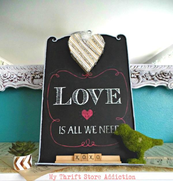 Upcycled Valentine chalkboard
