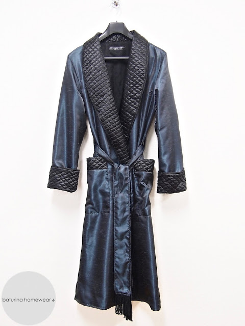Women's quilted silk robe luxury dressing gown