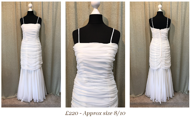 1920s style wedding dress, ruched chiffon, size 10, available at vintage lane bridal bolton Manchester lancashire