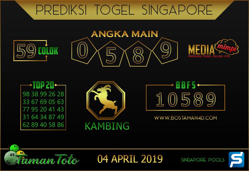 Prediksi Togel SINGAPORE TAMAN TOTO 04 APRIL 2019