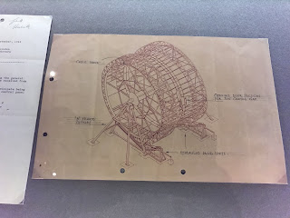 Vickers' original sketch plan of the centrifugal set piece for 2001:  Space Odyssey