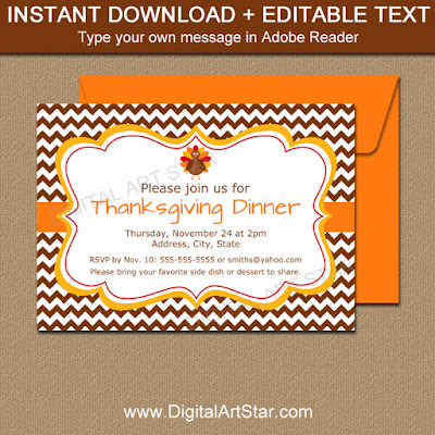 thanksgiving invite with brown chevron - printable PDF file