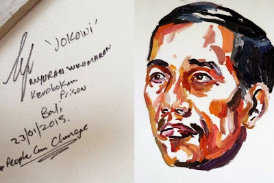 "Portrait of Indonesian President Joko ""Jokowi"" Widodo, by Myuran Sukumaran, executed by firing squad on Nusa Kambangan, Indonesia, on April 29, 2015."