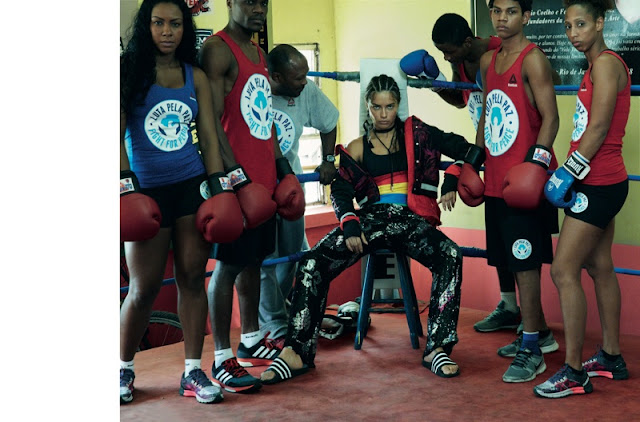 Adriana Lima poses in a Rio de Janeiro gym for Vogue Brazil