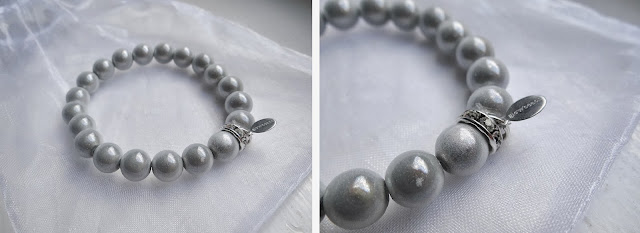 illusion bead bracelet, Glowbeads, Christmas silver white bracelet