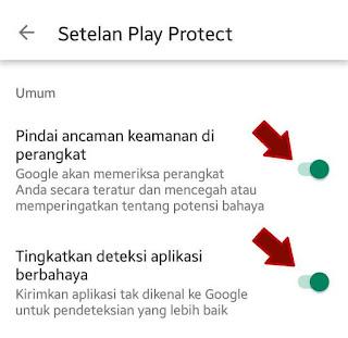 Aktifkan google play protect
