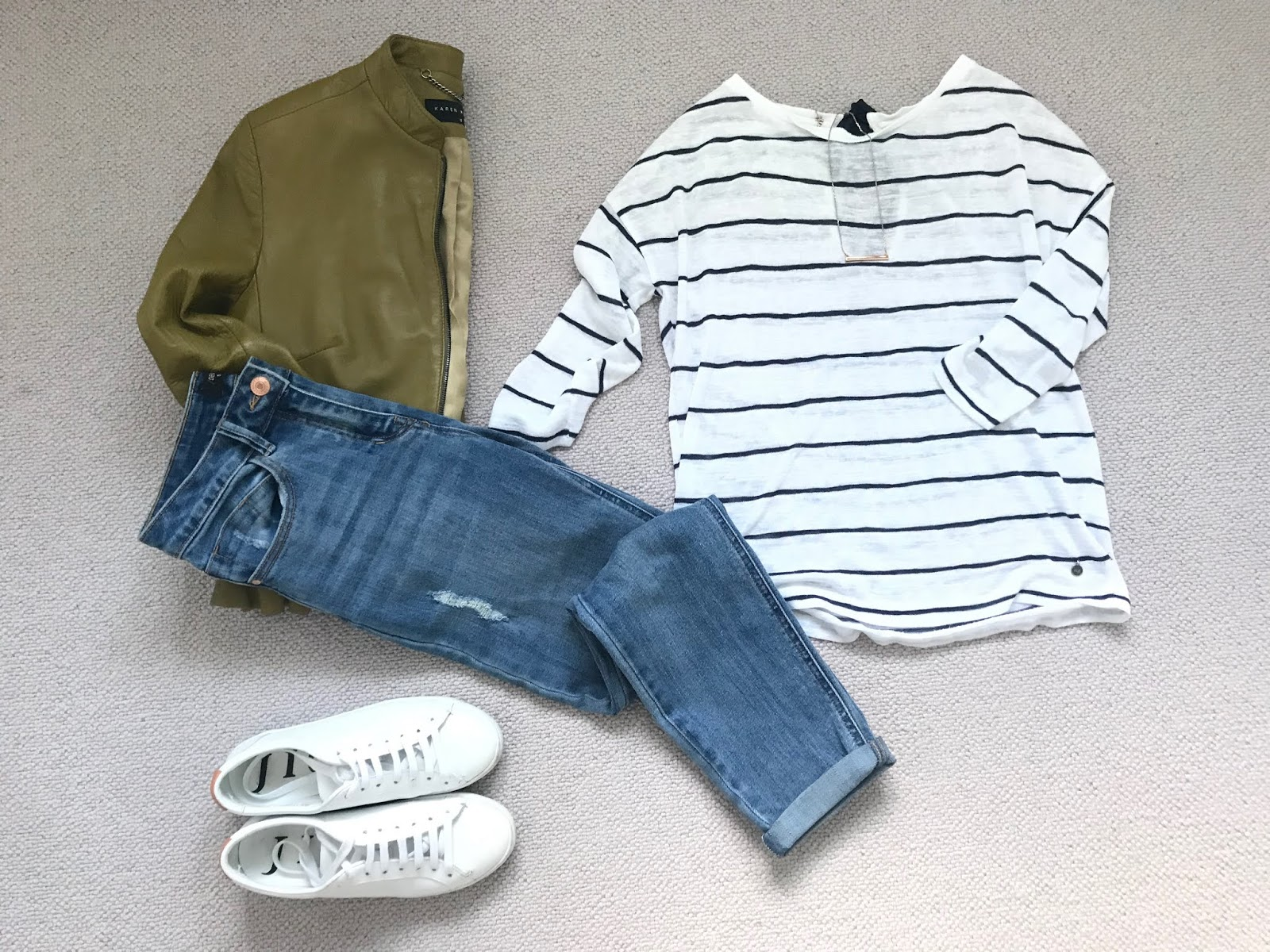 Spring outfit featuring a striped top