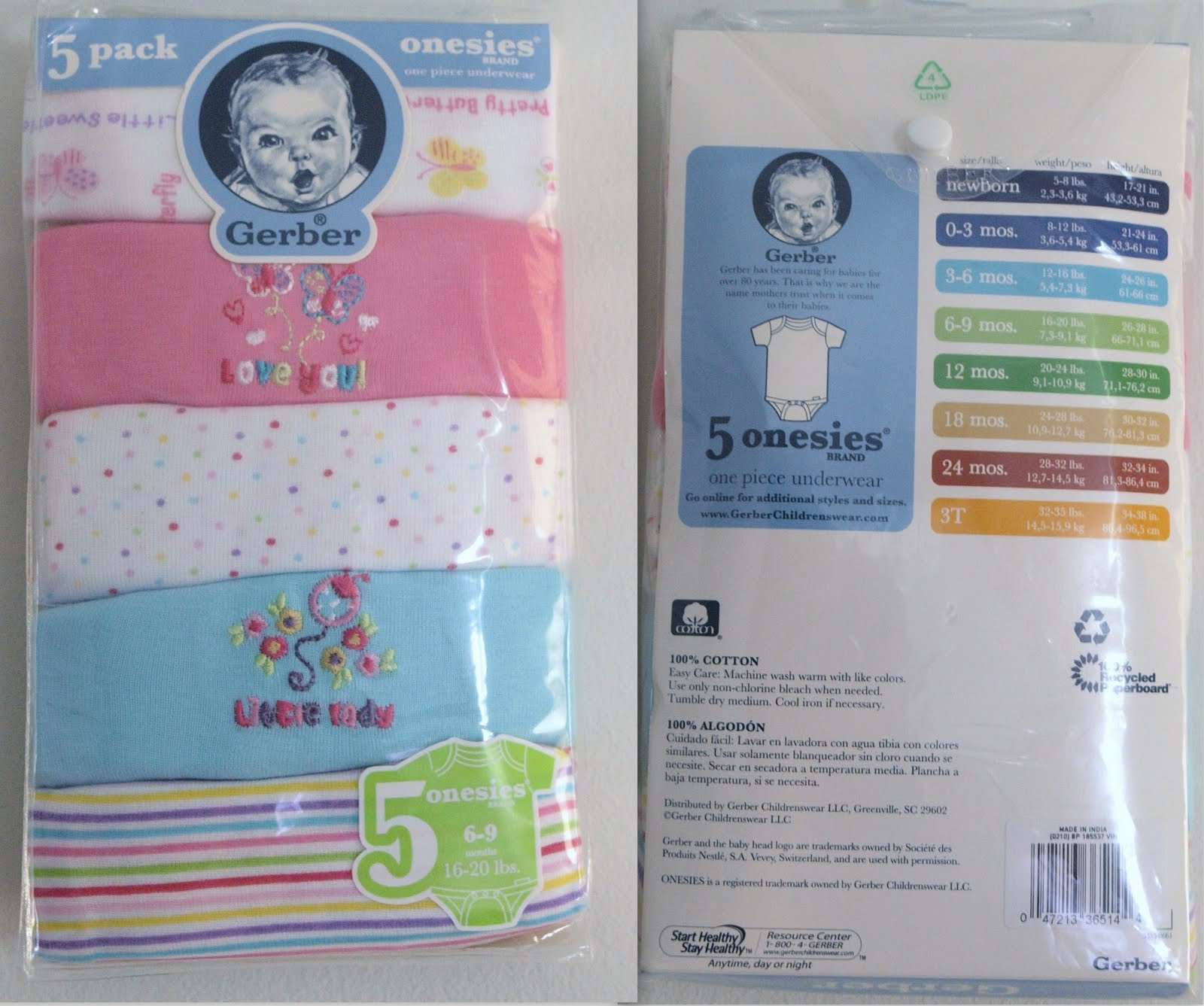 0bf3ef1e9ce77 Pebbles Babies  Gerber Girls 5-Pack Onesies -- Stock Clearance