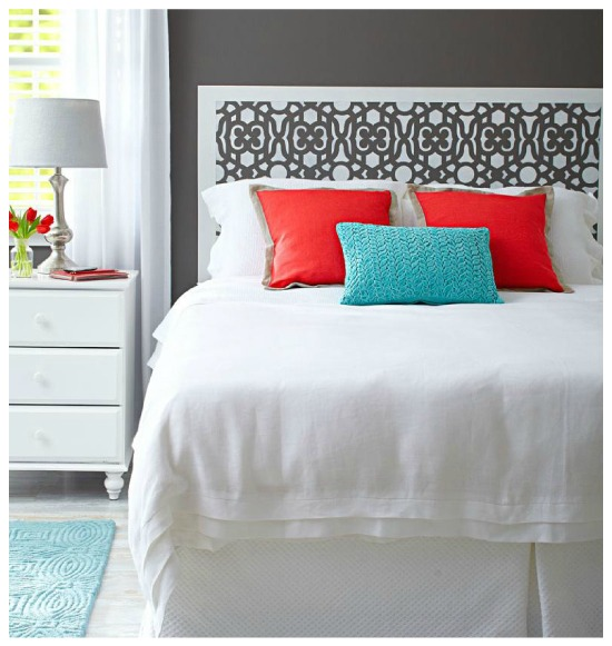 budget decorating, Stenciled faux headboard