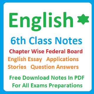 English 6th Class Chapter Wise Notes All Federal Board Punjab Board