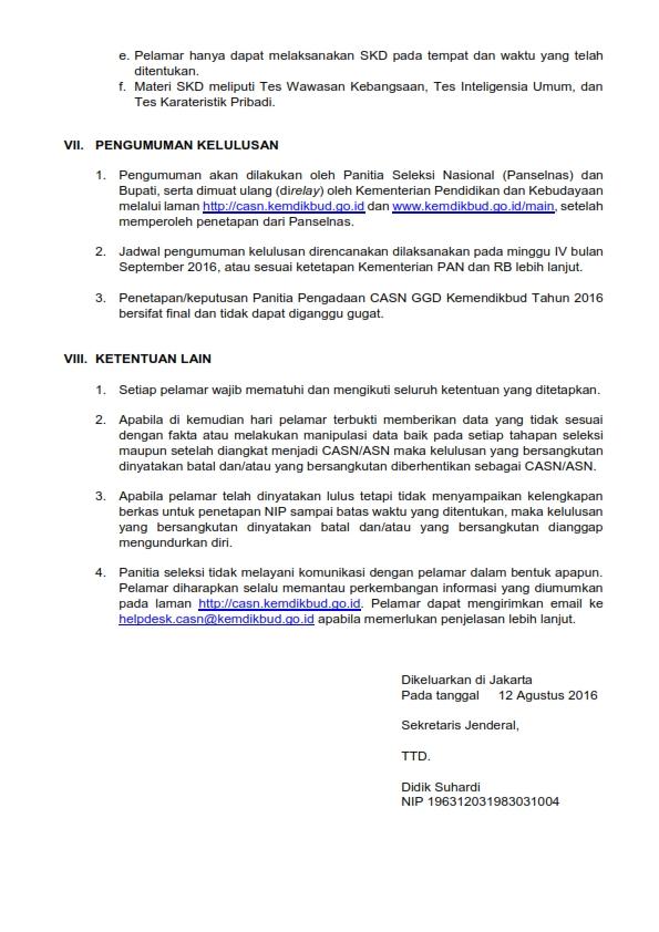 Penerimaan CPNS Kementerian Pendidikan dan Kebudayaan Tahun 2016