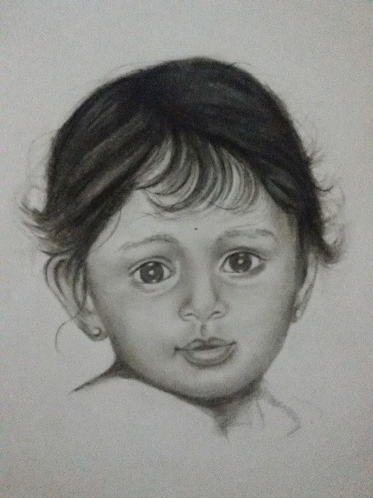 Baby girl pencil sketch