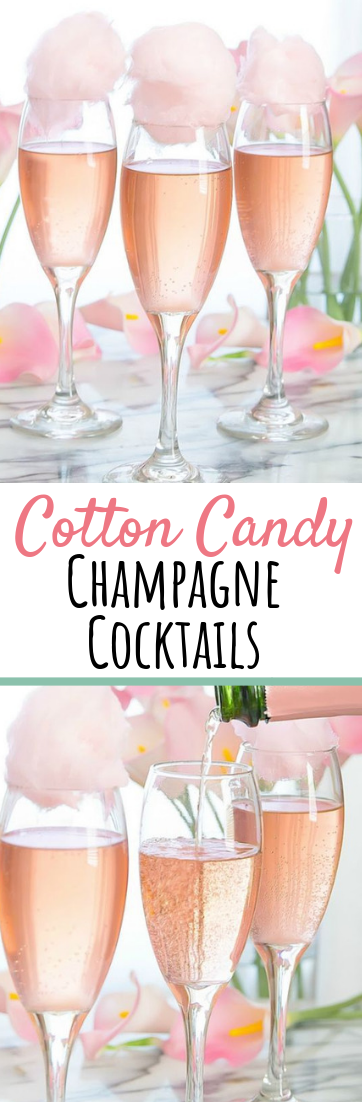 Cotton Candy Champagne Cocktails #Sweetdrinks #cocktailcandy