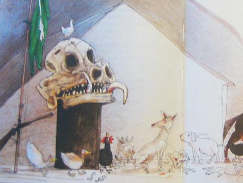 Ilustración del cráneo de Major, de Ralph Steadman, para Rebelión en la Granja - Cine de Escritor