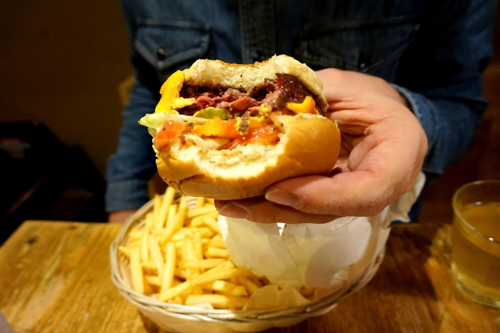 "<img src="" From the corners of the curve blog steak burger.jpg"" alt=""steak burger"" />"