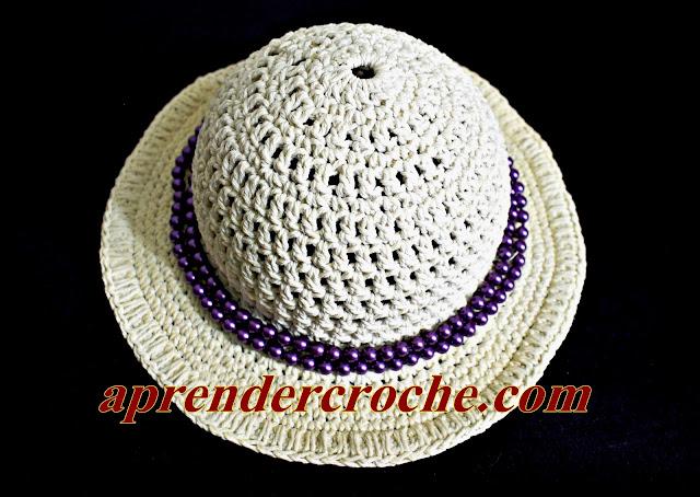 chapéu croche adulto bebê infantil acessório moda verão euroroma aprender croche edinir-croche curso