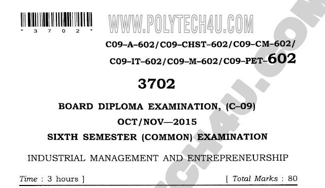 602- INDUSTRIAL MANAGEMENT AND ENTREPRENEURSHIP previous question paper oct/nov-2015