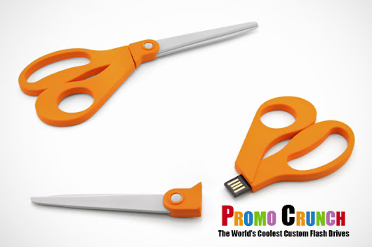 Scissors shaped into a custom usb flash drive.