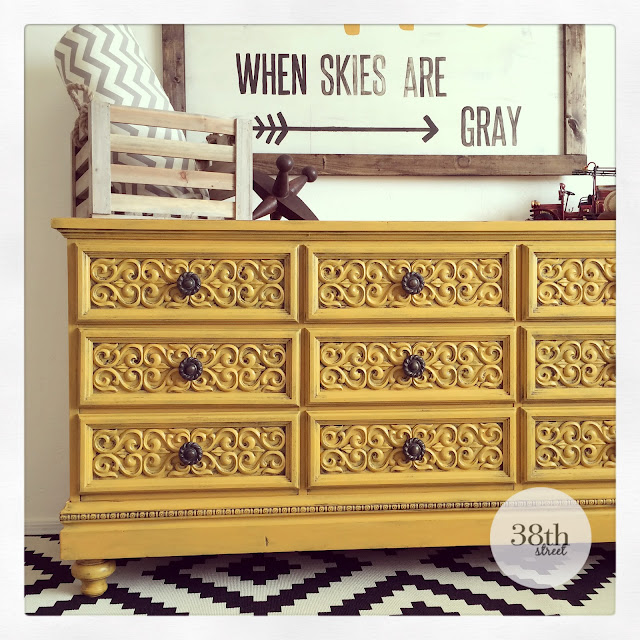 painted dresser, painted furniture, refinished dresser, refinished furniture, furniture makeover, dresser makeover, diy, mustard yellow, yellow, reverse distressing, how to add legs to furniture, how to add feet to furniture