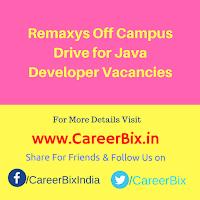 Remaxys Off Campus Drive for Java Developer Vacancies