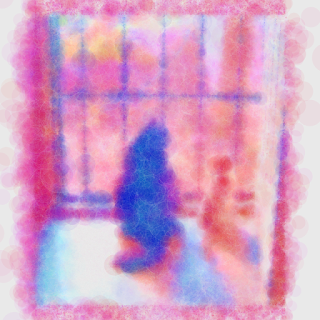 It makes a cat photo into polka-dot pattern.