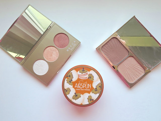 a picture of Makeup Favorites (Airspun Translucent Extra Coverage Lose Powder, Charlotte Tilbury Filmstar Bronze & Glow (Light to Medium), Becca Champagne Glow Palette)