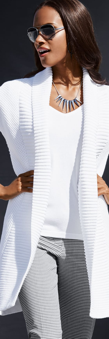 Madeleine White Knit Sweater.