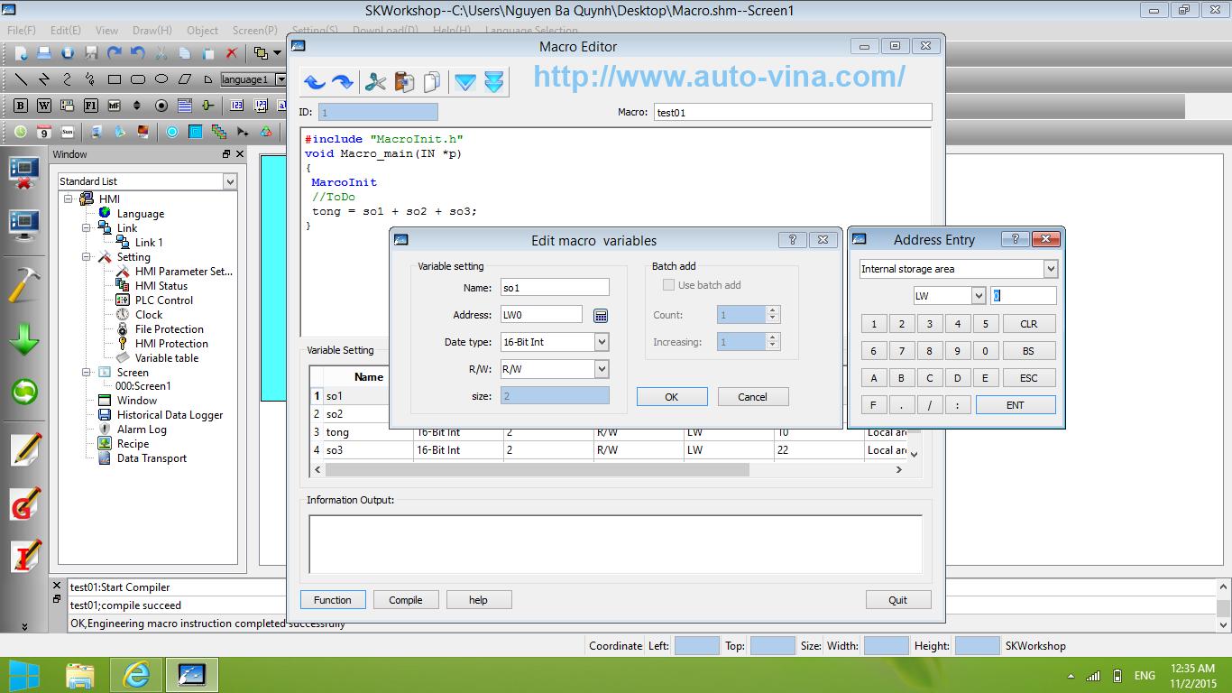 Sử dụng ngôn ngữ C lập trình Macro cho HMI Samkoon trên phần mềm SKWorkshop