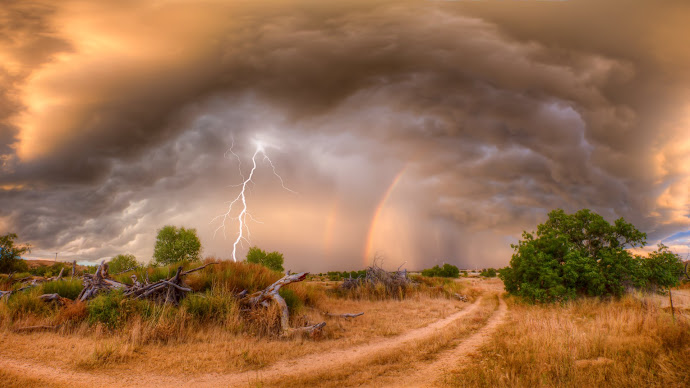 Wallpaper: Nature: Lightning, Rainbow and Landscape