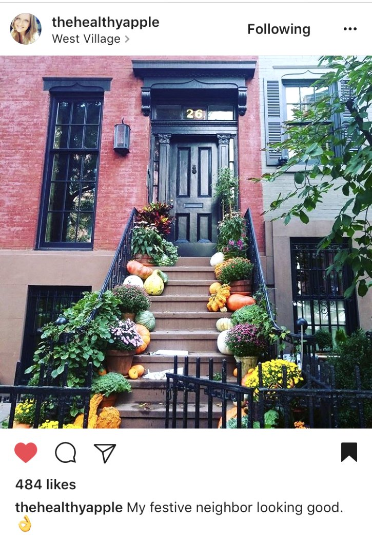 A beautiful fall front porch in New York City.