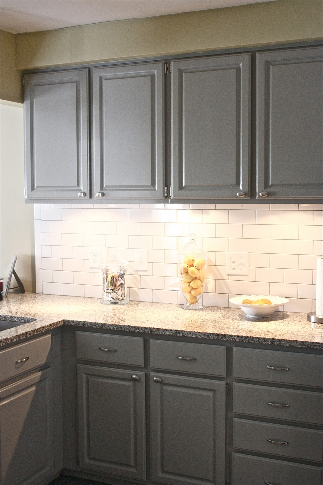 gray cabinets kitchen moen faucet installation black and cream floor tiles best home