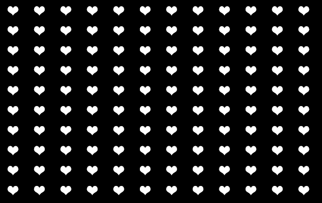 white hearts pattern with black background design free graphic Kwikk