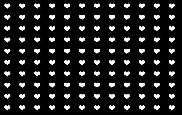 white hearts pattern with black background design free graphic Kwikk