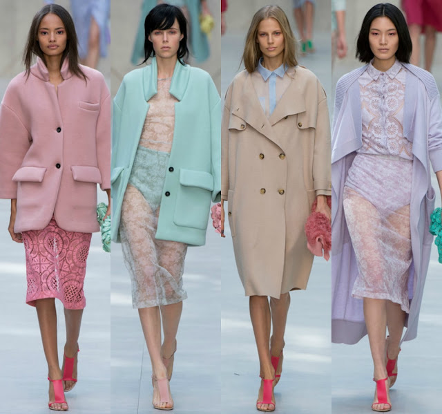 stripes, atmosphere, burberry, fashion, trench, trend, runway, catwalk, finale, petals, london fashion week, fashion week, cara delevingne, chiharu okunugi, christopher bailey, coats, edie campbell, pastels, liu wen, hyde park, jourdan dunn, lace, malaika firth, charlotte wiggins, outerwear, polka dots, heels, couture, cotton, silk, candy, laduree, macaron, garden, english rose, sheer, cashmere