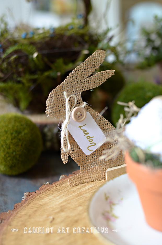 burlap bunny name tag