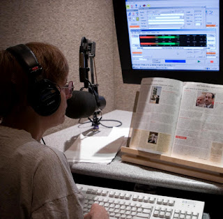 image of a Sun Sounds volunteer in recording studio
