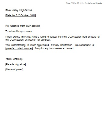 letter of absent from school