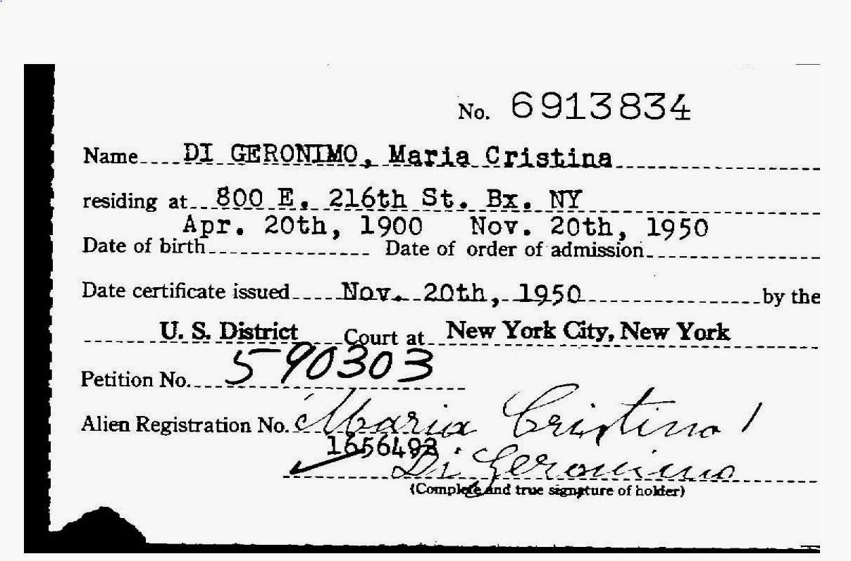 Maria Christina Giannetti Rocchetta Santantonio Foggia Italy Locating And Ordering Montreal Circuit Court Naturalization Records 1950 Record November 20 Us District At New York Ny